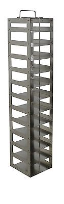 "Chest Freezer Rack for 2"" high lab. freezer boxes, 12 position w/ locking rod"