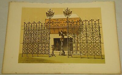 1863 Antique Chromolithograph Print//  WROUGHT IRON GRILLES  //p65