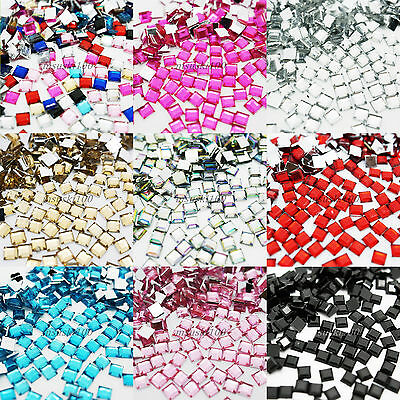1000 SQUARE Rhinestones Acrylic Gems Flat silver back Nail art Cardmaking Crafts
