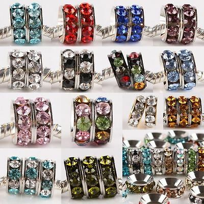 Crystal Rhinestone Mini Wheel Rondelle Spacer Charm Beads Findings Fit Bracelet