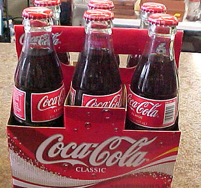 Coke Coca-Cola Holiday 2003 six 6 pack full pop soda bottles 8 oz ounce containe