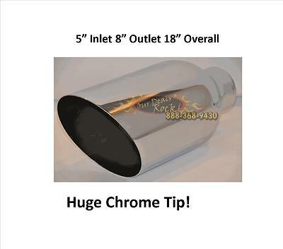"""AT8018-5 Brand New Chrome Tip 5"""" inlet 8"""" outlet 18"""" overall Angle Cut"""
