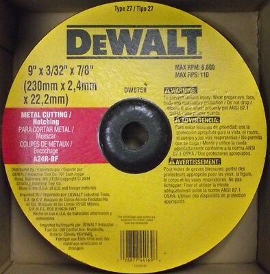 "DeWalt DW8758 9"" 3/32"" 7/8"" A24R-BF Metal Cutting Notching Wheel USA"