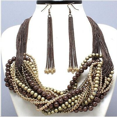 Twisted Bead & Chain Necklace & Earring Set Copper, Brass & Gold Tone