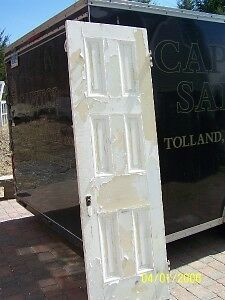 c1860 pine 6 raised panel door w/casing 89.5 x 28""