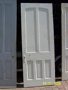 c1860 arched raised panel door w/casing & jamb 87 x 33""