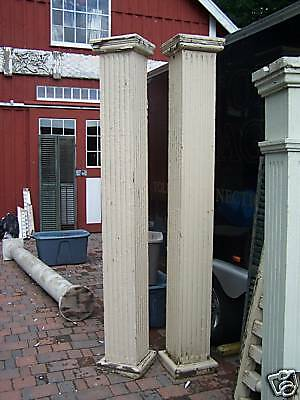 "HUGE pr fluted VICTORIAN COLUMN piers w 6' railing 93""h"