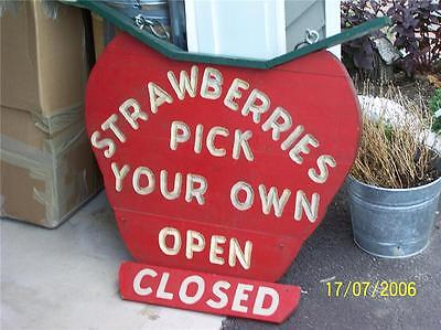 HUGE STRAWBERRY sign double sided FOLK ART 33 x 31
