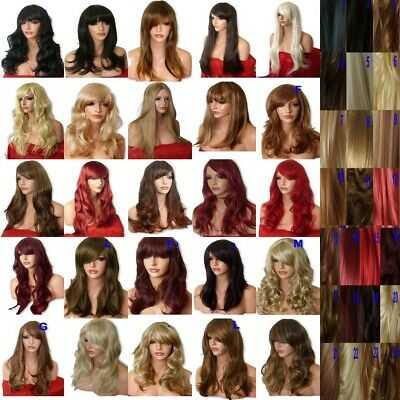 black brown blonde ginger red long wavy curly women fashion halloween party wig