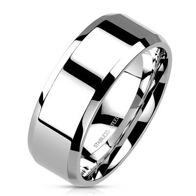 316L Stainless Steel Polished Flat Band with Beveled Edge Ring Size 5-14