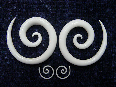 Tapers Pair of Acrylic Spiral in White 00G, 0G, 2G, 4G, 6G, 8G, 10G, 12G, or 14G