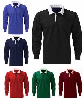 Mens Premium Cotton Rugby Shirt Size XS to 3XL - WORK CASUAL SPORTS & LEISURE