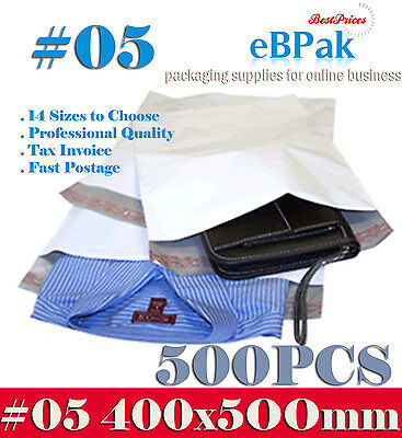 500x Poly Mailer 400x500mm #05 Plastic Satchel Courier Self Sealing Shipping Bag