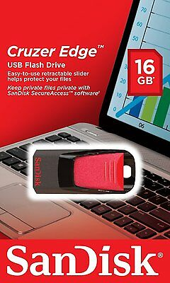 New Sandisk CRUZER Edge 16GB USB 2.0 Flash Pen Drive 16 GB SDCZ51 Retail 16 G