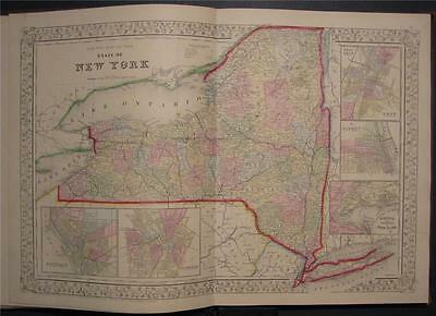 1867 Original Antique Mitchell's Map New York State NY