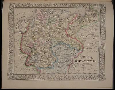 1867 Antique Mitchell Map Prussia German States Germany