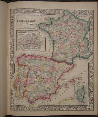 1863 Antique Mitchell Map Spain Portugal France Corsica