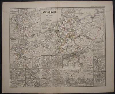 1880 Antique Map Deutschland Germany 1807 - 1815 Battle