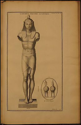 1724 Antique Montfaucon Print Egyptian Priest Canopes