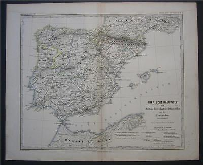 1880 Antique Map of Iberi Spain Portugal in 1086 - 1257