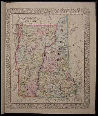 1867 Antique Mitchell County Map New Hampshire Vermont