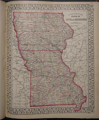 1874 Antique Mitchell County Map of Iowa Missouri IW MO