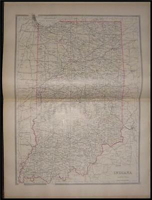 1885 Original Bradley Large County Map of Indiana OH