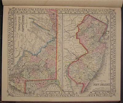 1867 Antique Mitchell Map New Jersey Maryland Delaware