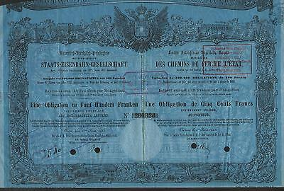 AUSTRIA STATE RAILWAY OF 1855 stock certificate VERY OLD