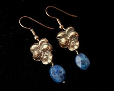 Bronze Vintage French Flower Petal Sodalite Earrings