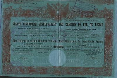 AUSTRIA STATE RAILWAY OF 1870 stock certificate OLD