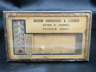 GROOM HARWARE & LUMBER  Advertise Metal Picture Thermometer -FREE SHIP