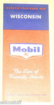 Mobil Wisconsin Highway Map 1956 - Nice Graphics SEE!