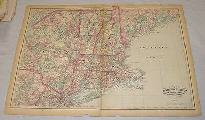 """1874 MAP of NH, VT, MA, RI, and CT, by ASHER & ADAMS/17x24"""""""
