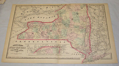 """1871 MAP of RAILROADS OF NEW YORK STATE, by ASHER & ADAMS, 14.5x23.5"""""""