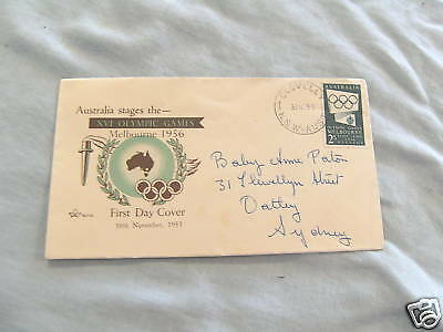 Used 1955 Envelope - 1956 Melbourne Olympic Games