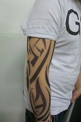Fake Tattoo Sleeve Cloth Arm Design - Orange Tribal  T4