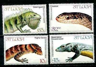 Saint  Lucia 1984 Endangered Reptiles Mint Never Hinged