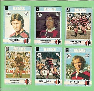 1977 Scanlens Rugby League Team Cards  - North Sydney Bears