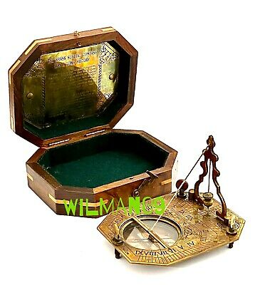 Solid Brass Pocket Sundial With Wooden BOX - Working