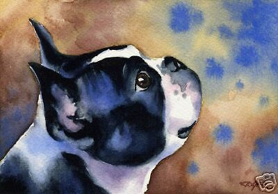 BOSTON TERRIER ART Print 8 x 10 Painting Signed by Watercolor Artist DJR w/COA