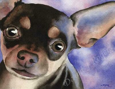 CHIHUAHUA Watercolor Painting Dog 8 x 10 ART Print Signed DJR