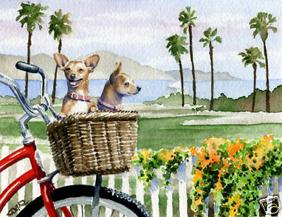 CHIHUAHUA Dog Watercolor Painting 11 x 14 ART Print Signed by Artist DJR w/COA