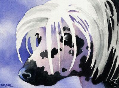 CHINESE CRESTED Painting Dog 8 x 10 ART Print Signed DJR