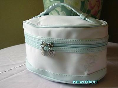 New Lancome Baby Blue Trim White Soft Train Case Bag