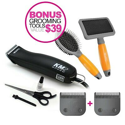 WAHL KM2 Clippers Kit & BLACK CASE Pet/Dog Clipper KM-2 Summer Grooming