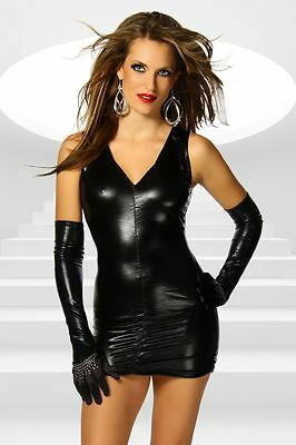 SeXy Minikleid Wet Look Kleid M/L Schwarz WetLook