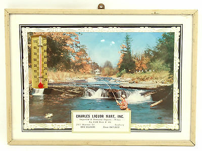 1959 CALENDAR LIQUOR MART WINE BEER ICE Advertise Thermometer FISHING Photo Sign
