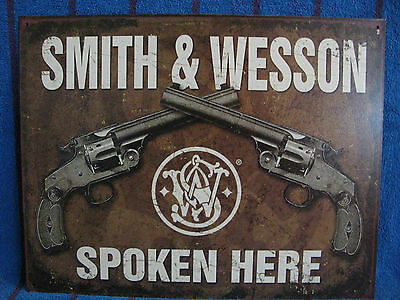 New Tin Sign- Smith & Wesson Spoken Here- 2 Revolvers- Guns- Made in USA
