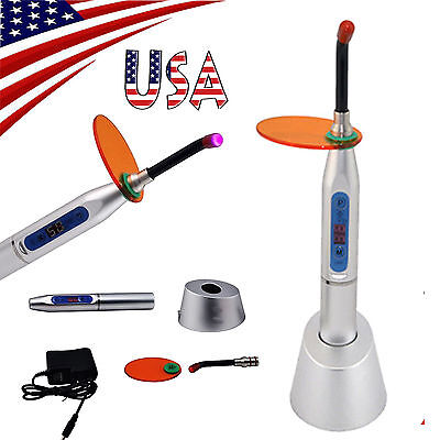 *USA* Silver Dental Equipment 10W Wireless Cordless LED Curing Light Lamp 2000mw